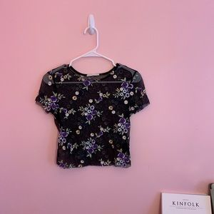 Urban Outfitters Floral Mesh Top